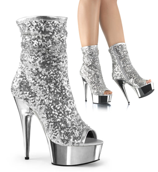 "6"" Sequin Open Toe Ankle Boot (DELIGHT-1008SQ)"
