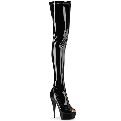"6"" Stretch Open Toe Thigh  Platform Boot  (DELIGHT-3011)"