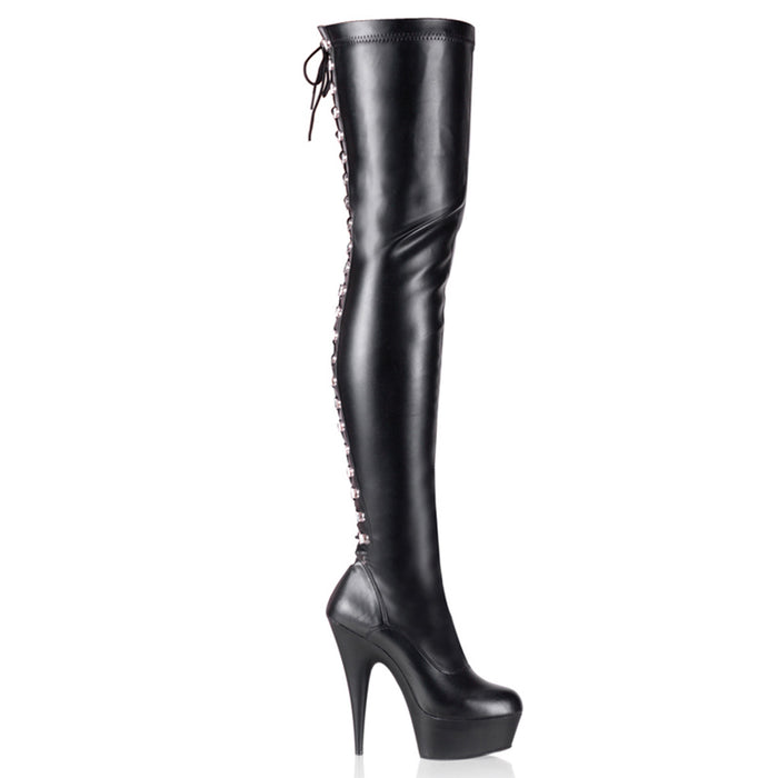 "6"" Back Lace Platform Thigh Boot (DELIGHT-3063 )"