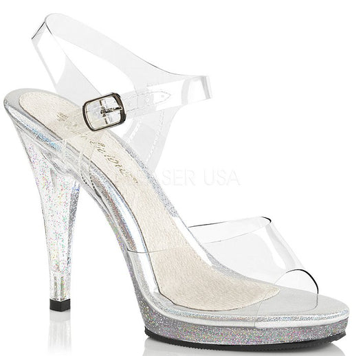 "4.5"" Clear Glitter Sandal  (FLAIR-408MG)(Blowout Final Sale)"