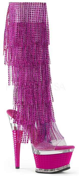 "6 1/2"" Heel Open Toe Ankle Fringe Knee Boot (ILLUSION-2017RSF)"