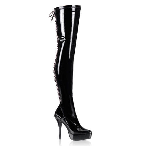 "5 1/4"" Lace-Up Stretch Platform Thigh Boot (INDULGE-3063)"