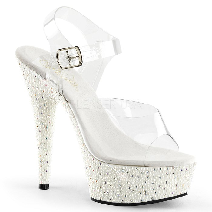 "6"" Heel Pearl Encrusted Platform Sandal (PEARLIZE-608)(Blowout)(Final Sale)"