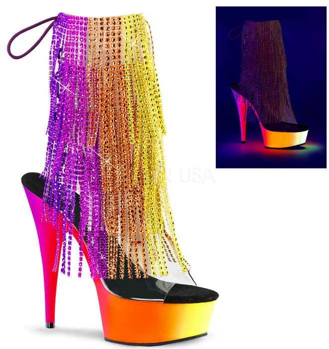 "6"" Neon Fringe Ankle Boot (RAINBOW-1017RSF-6)"
