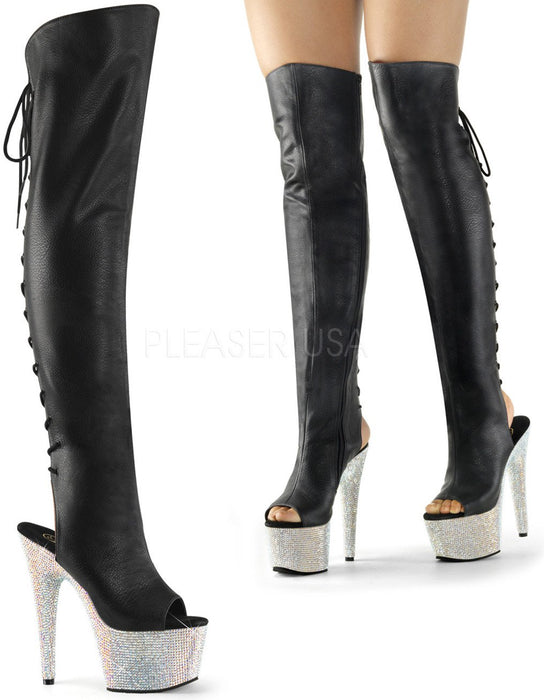 "7"" Open Toe Thigh Boot  (BEJEWELED-3019DM-7)"