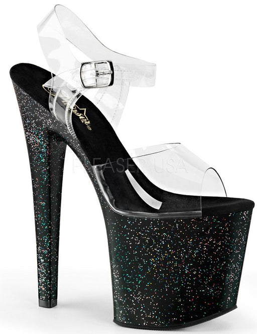 "7 1/2"" Stiletto Platform Sandal (TABOO-708MG)"