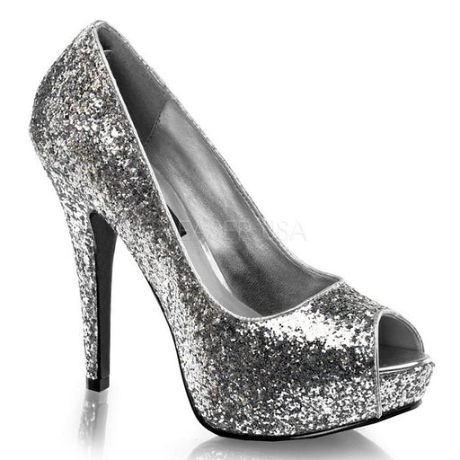 "5 1/4"" Open Toe Glitter Pumps (TWINKLE-18G)(Blowout)(Final Sale)"