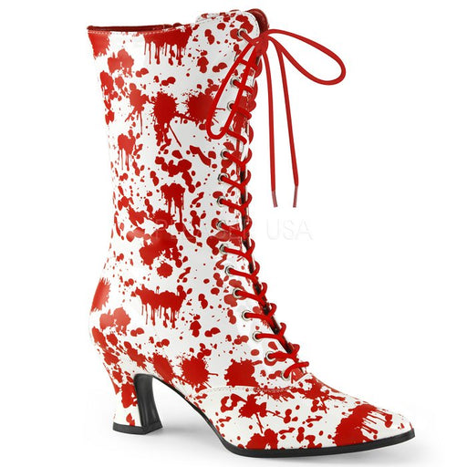 "2 3/4"" Heel Front Lace Up Mid-Calf Boot Featuring Bloody Print (VICTORIAN-120BL)"