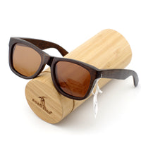 Classic Dark Wooden Wayfarer Sunglasses with brown lens