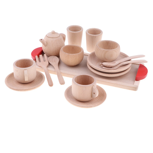 Wooden tea play set for kids