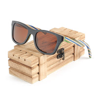 Stripey Bamboo Sunglasses with brown lens