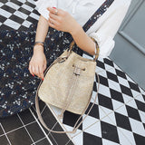 Natural Straw Bucket Bag with Bamboo Handle