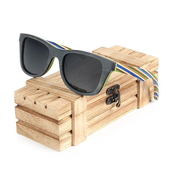 Stripey Bamboo Sunglasses with grey lens
