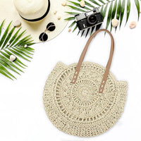 Round Hand Woven Straw Shoulder Handbag with Patterns