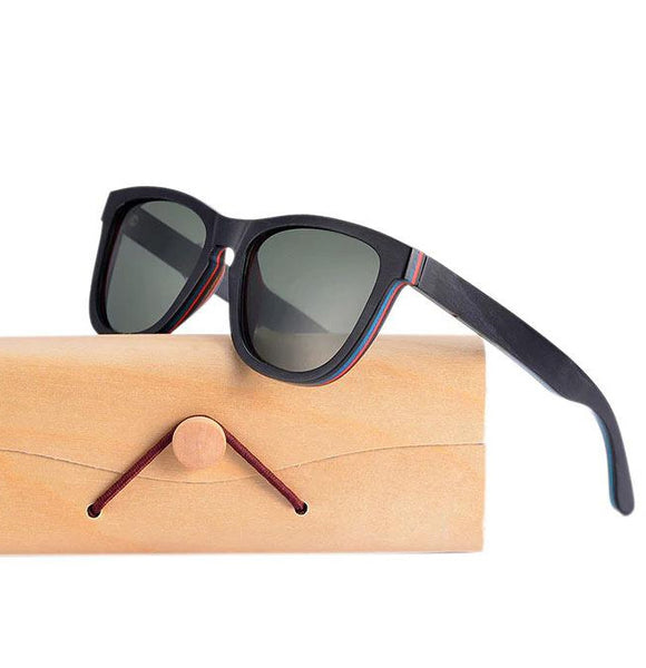 Black Skateboard Wood Sunglasses