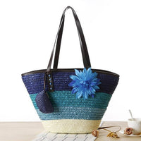 Blue Knitted Straw Shoulder Handbag with Flower