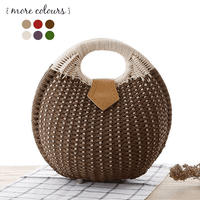 Brown Woven Straw Shell Handbag