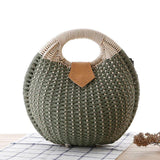 Green Woven Straw Shell Handbag