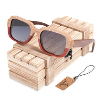 Two-toned wooden sunglasses with wooden chest
