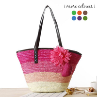 Knitted Straw Shoulder Handbag with Flower - pink