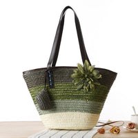 Dark Green Knitted Straw Shoulder Handbag with Flower