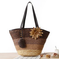 Brown Knitted Straw Shoulder Handbag with Flower