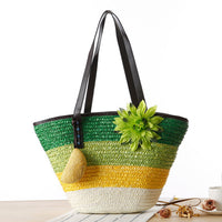 Green Knitted Straw Shoulder Handbag with Flower