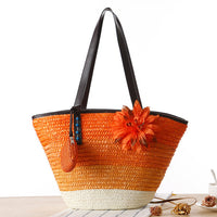 Orange Knitted Straw Shoulder Handbag with Flower
