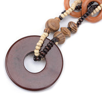Round Wooden Beaded Pendant Necklace