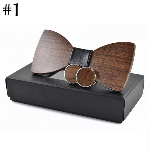 Wooden Bow Tie and Cufflinks Set