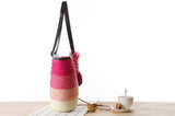 Knitted Straw Shoulder Handbag with Flower