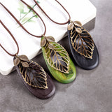 Vintage Leaf Statement Wooden Necklace