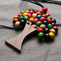 Wooden Beaded Tree of Life Necklace