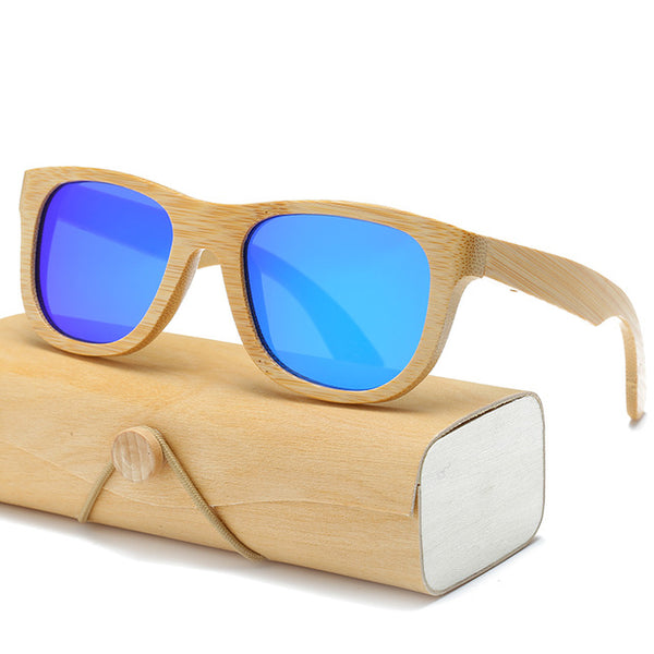 Wooden Bamboo Sunglasses with Case - Blue Lenses