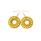Round Flower Wooden Earrings yellow