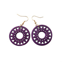 Round Flower Wooden Earrings purple