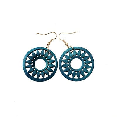 Round Flower Wooden Earrings