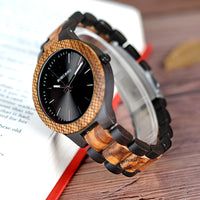 Classic Ebony and Zebra Wood Watch for Men