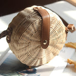 Balinese Style Handmade Rattan Handbag with Leather Strap