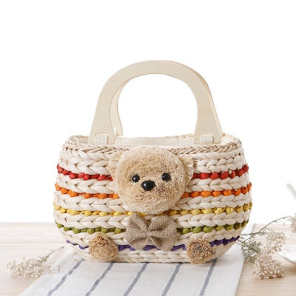 Teddy Bear Straw Handbag with Wooden Handles