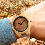 Handmade Wooden Watch with Wood Grain Face and Genuine Leather Strap