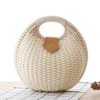 Off-White Woven Straw Shell Handbag