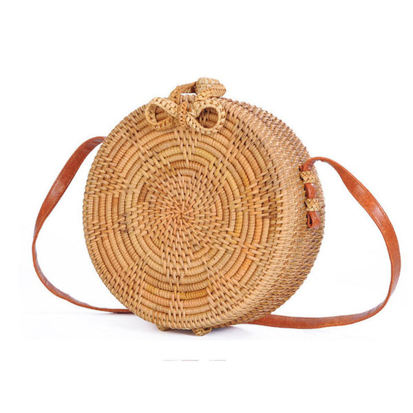 Handmade Round Rattan Handbag with Woven Star Pattern