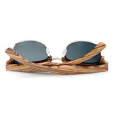 Wooden Semi-Rimless Sunglasses with Grey lenses