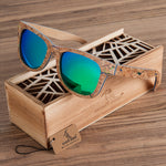 Skateboard Wood Sunglasses with Green Lenses