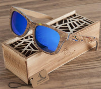 Skateboard Wood Sunglasses with Blue Lenses