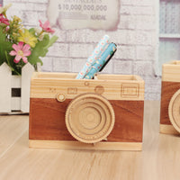 Wooden Vintage Camera Pen Holder