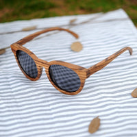 Round Zebra Wood Cat Eye Sunglasses