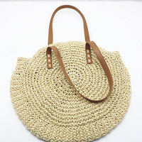 Round Hand Woven Straw Shoulder Handbag