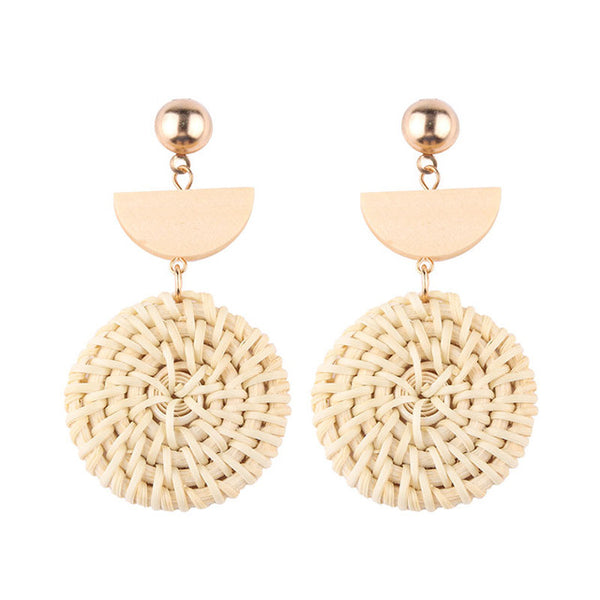 Round Rattan Earrings with Half Circle detail